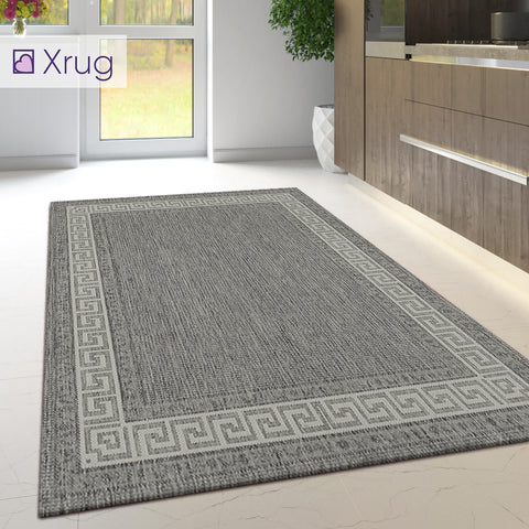 Kitchen Rug Grey Non Slip Greek Key Border Large Small Runner Heavy Duty Carpet Mat