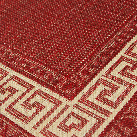 Kitchen Red Rug Flat Weave Non Slip Heavy Duty Hard Wearing Woven Carpet Modern Greek Key Pattern Bordered Geometric Pattern Small Large Hall Runner Polypropylene Mat 60x110 60x180 60x230 80x150 120x160 160x225