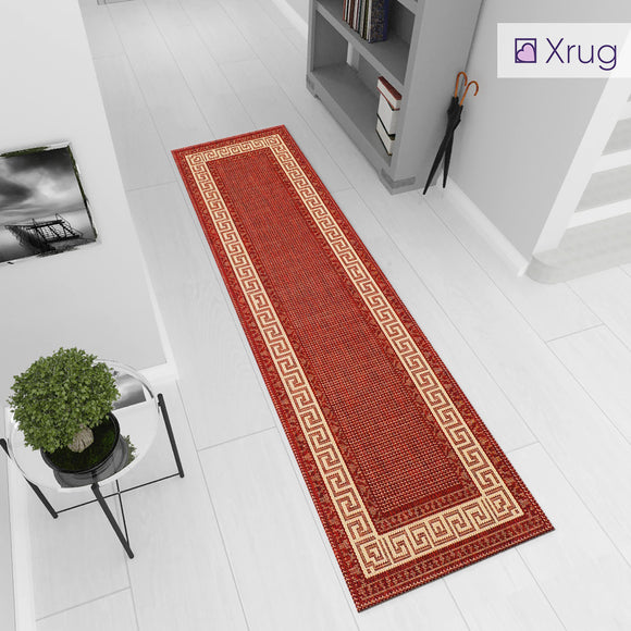 Red Cream Runner Rug Non Slip Greek Key Border Style Kitchen Hallway Long Runner Durable Carpet Mat