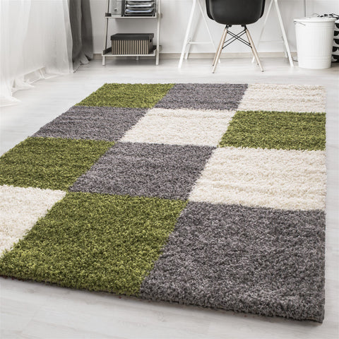 Green Fluffy Rug Grey Cream Checkered Shaggy Carpet Small Large Room Hallway Mat