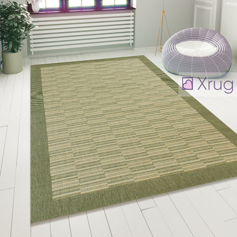 Green Patterned Rug Hard Wearing Floor Mat Modern Flat Woven Room Lounge Carpet