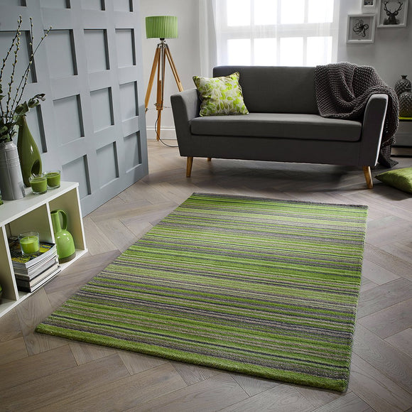 Wool Rug Handmade Green Modern Striped Living Room Bedroom Carpet Thick Mat Runner New