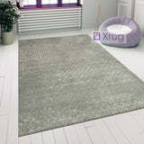Grey Bedroom Rug Large Modern Checkered Pattern Floor Carpet Short Pile Area Mat