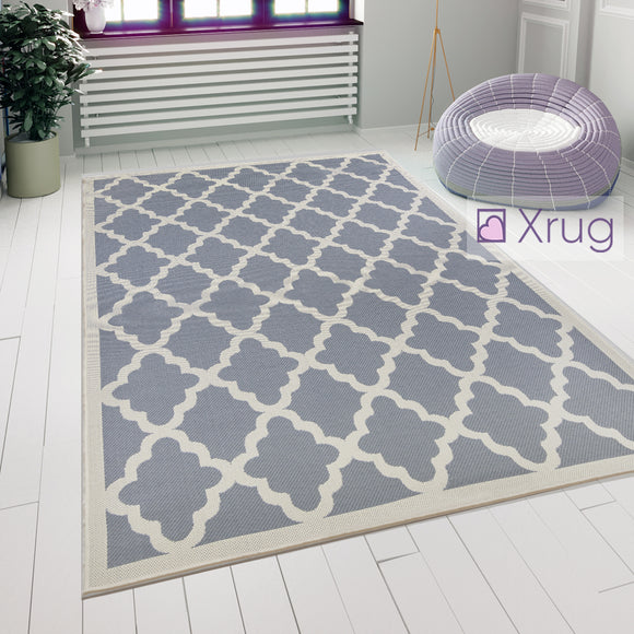 Grey Beige Rug Indoor Outdoor Modern Pattern Mat Flat Weave Floor Hallway Carpet
