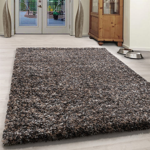 Grey Beige Taupe Cream White Rug Modern Shaggy Carpet Soft Deep Long High Pile Fluffy Runner Living Room Bedroom Area Lounge Small X Large Runner Hallway Floor Mat