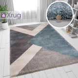 Grey Blue Rug Modern Geometric Rugs Pastel Thick Pile Carpet Bedroom Floor Mat