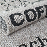 Silver Grey Black Rug Jute Look Flat Weave Hard Wearing Woven Carpet Coffee Pattern Small Large Hall Runner 60x200 80x150 80x200 120x170 160x230