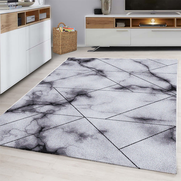 Contemporary Modern Abstract Geometric Rug Grey Black Patterned Carpet Small Extra Large XL Living Room Bedroom Area Lounge Mats Woven Polypropylene Heatset Short Low Pile 120x170 200x290 160x230 80x150 80x300