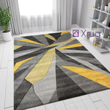 Grey Ochre Rug Geometric Hand Carved Pattern Carpet Abstract Bedroom Floor Mat