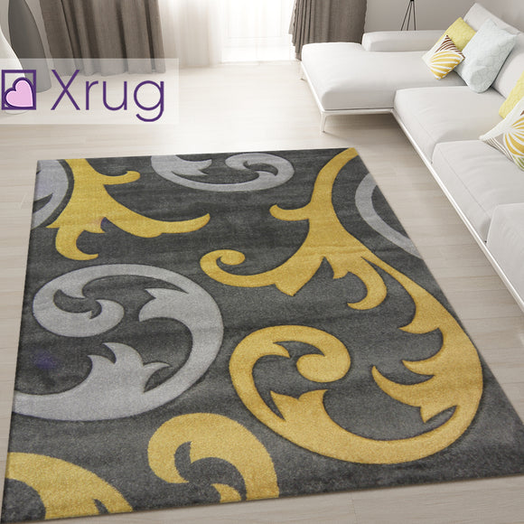 Grey Ochre Rug Mustard Floral Hand Carved Pattern Mat Bedroom Hall Runner Carpet