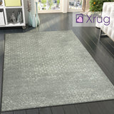 XRUG Modern Grey Ivory Rug Checkered Pattern Woven Low Pile Carpet Living room & Bedroom Floor Mat
