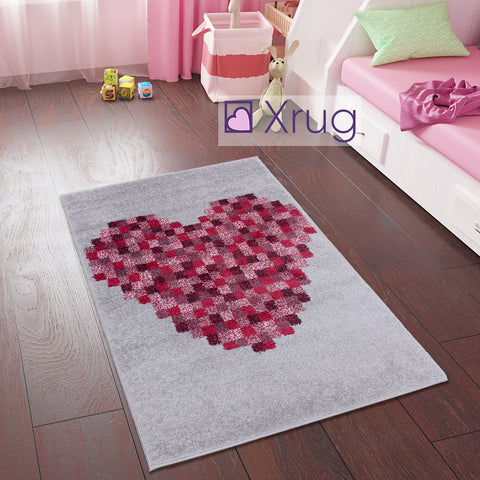 Kids Rug Girls Red Pink Grey Carpet Heart Print Kids Room Rug Nursery Mat 80x120