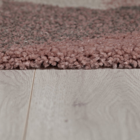 Grey Pink Rug Thick Pile Geometric Rugs Pastel Colour Carpet Bedroom Area Mat