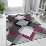 Grey Purple Rugs Modern Geometric Hand Carved Pattern Mat New Living Room Carpet