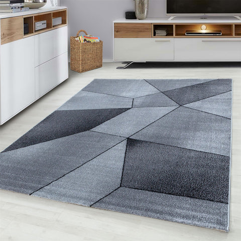 Grey Black Rug Modern Designer Abstract Geometric Patterned Small X Large Room Runner Hallway Carpet Living Room Bedroom Area Lounge Mats Woven Polypropylene Heatset Short Low Pile 120x170 200x290 160x230 80x150