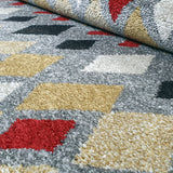 Modern Rugs Grey Red Yellow Mustard Geometric Abstract Patterned Carpet Small Large Area Mat Woven Friese Soft Polypropylene Living Dining Room Bedroom Lounge Runner Hallway 70x140 70x240 120x170 160x220 New