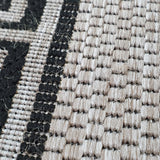 Silver Grey Black Rug Jute Look Flat Weave Hard Wearing Woven Carpet Modern Bordered Pattern Small Large Hall Runner 60x230 80x150 80x250 120x170 160x230