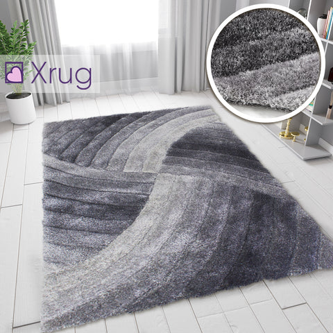 Grey Shaggy Rugs 3D Fluffy Rugs Hand-Carved Long Pile Patterned Bedroom Carpets Small Large