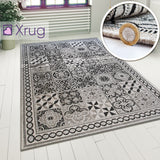 Grey Trellis Rugs Kitche Dining Room Flat Weave Woven Rugs Area Mats Polypropelene Plastic Rugs Hard Wearing