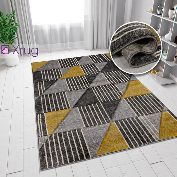Yellow Mustard Ochre Grey Rug Modern Geometric Contour Cut Hand-Carved Pattern Small Extra Large XL Woven Carpet Living Room Bedroom Area Mat 120x170 160x230 200x290 Polypropylene