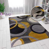 Grey Yellow Ochre Rug Circles Geometric Pattern Small Large Woven Carpet New Carpet Living Room Bedroom Area  Mat 80x150 120x170 160x230 Polypropylene