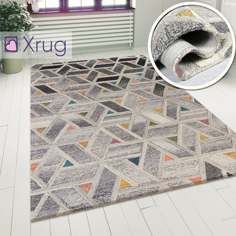 Grey Yellow Orange Rug Abstract Geometric Pattern Carpet Modern Wool Rug Bedroom Area Mat Small Extra Large Hall Mat Living Room Lounge Woven Short Pile Contemporary Floor New