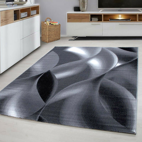 Abstract Rug Modern Silver Grey Black Wave Pattern Carpet Living Room Runner Mat
