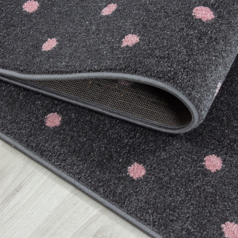 Kids Rug Grey Pink Heart Pattern Childrens Bedroom Play Room Floor Mat Baby Nursery Girls Boys Unisex Stars Carpet Small Large 120x170 160x230 80x150 120 160 Round Polypropylene Friese Short Low Pile