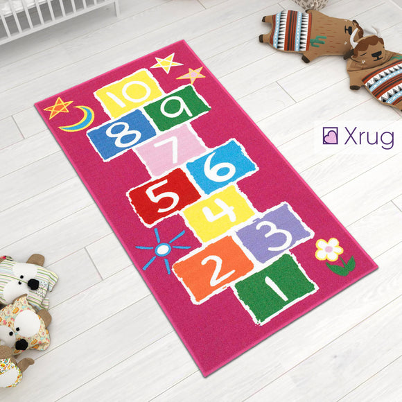 Kids Rug Girls Hopscotch NON SLIP MACHINE WASHABLE Pink Nursery Play Mat for Girls Bedroom Playroom 80x150cm