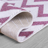 Indoor Outdoor Rug Pink Cream White Zig Zag Pattern Mat Water Resistant Carpet