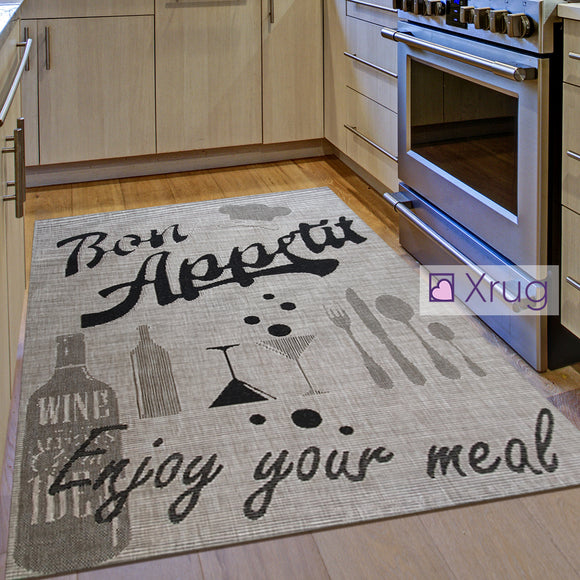 Indoor Rug Grey Black Design Bon Appetit Floor Mat Hard Wearing Kitchen Carpets