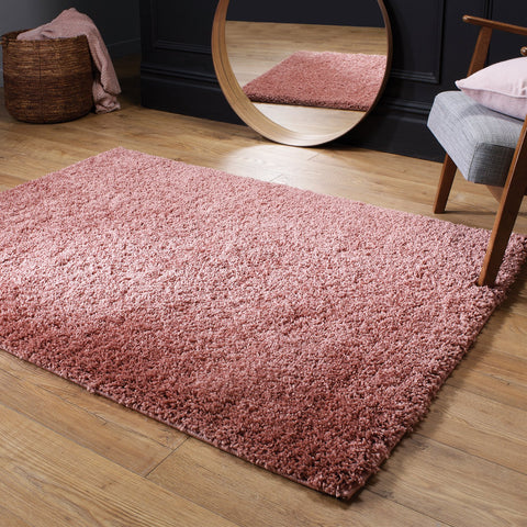 Pink Fluffy Rug Large Small Runner 4cm Long Pile for Bedroom Living Room Blush Pink Shaggy Carpet Mat