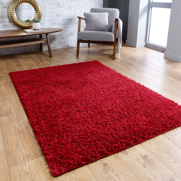Red Fluffy Rug Large Small Runner 4cm Long Pile for Bedroom Living Room Shaggy Carpet Mat