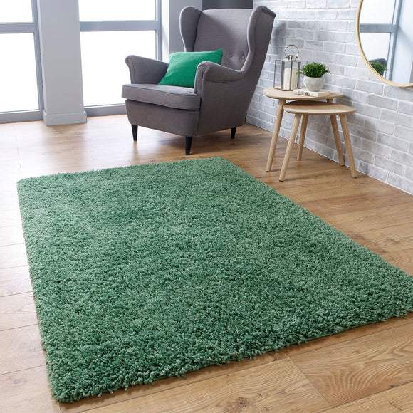 Green Fluffy Rug Large Small Runner 4cm Long Pile for Bedroom Living Room Sage Shaggy Carpet Mat