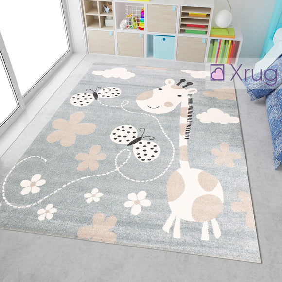 Kids Animal Rug Grey Beige Pink Cream Giraffe Butterfly Pattern Children Play Carpet Baby Nursery Bedroom Mat Girls Boys Unisex