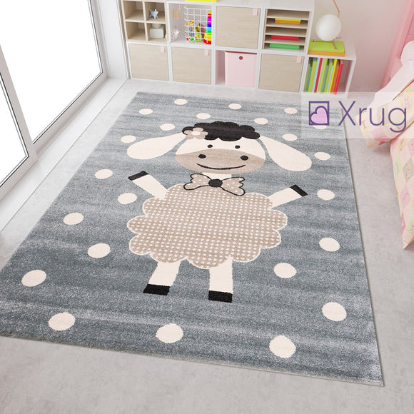 Kids Animal Rug Grey Beige Crem White Lamb Sheep Pattern Childrens Play Mat Baby Nursery Bedroom Carpet Unisex Boys Girls