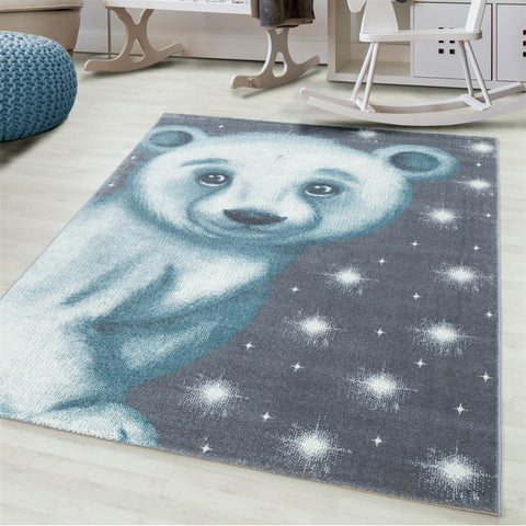 Kids Animal Rug Grey Blue Bear Pattern Childrens Bedroom Play Room Floor Mat Baby Nursery Girls Boys Unisex Stars Carpet Small Large 120x170 160x230 80x150 120 160 Round Polypropylene Friese Short Low Pile