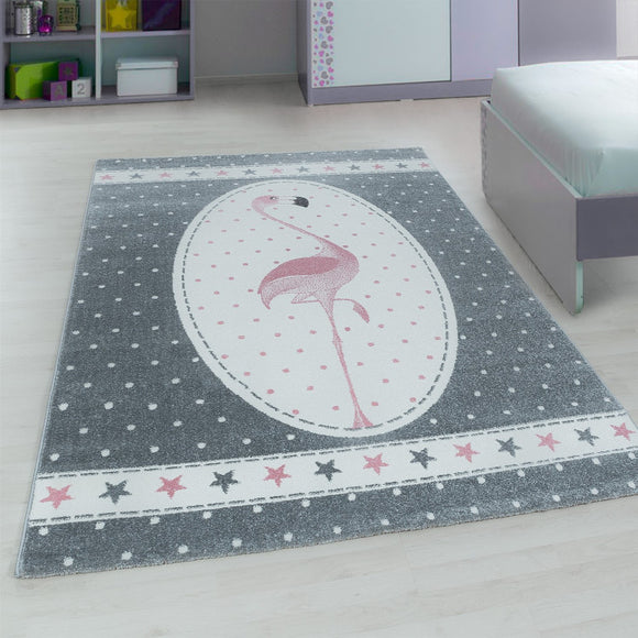 Kids Animal Rug Grey Pink Flamingo Pattern Childrens Play Mat Nursery Carpet New