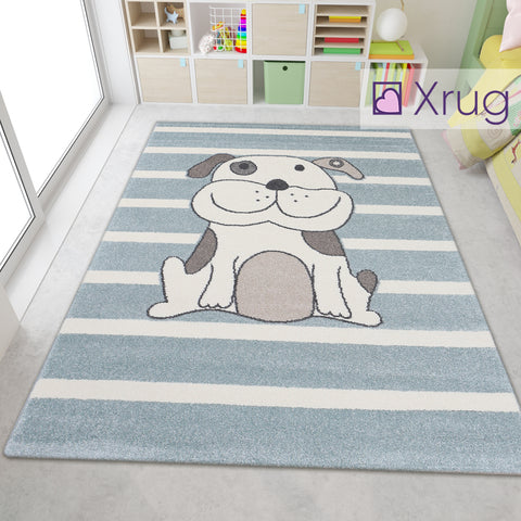 Kids Animal Rugs Dog Grey Cream Beige Childrens Bedroom Striped Carpet Rug Floor Play Room Mats Small Large Baby Girls Boys Unisex Abstract Polypropylene Short Pile