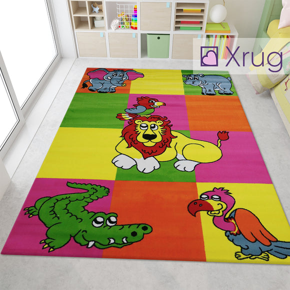 Kids Animal Rugs Yellow Green Kids Floor Carpet Jungle Zoo Lion Crocodile Parrot Hippopotamus Elephant Eagle Play Room Mat Small Large Childrens Bedroom Floor Nursery Baby Girls Boys Unisex