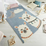 Kids Animal Rug Blue Pastel Alpaca Baby Nursery Rug Childrens Bedroom Play Mat