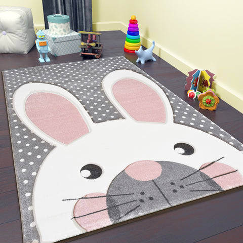 Nursery Rug Grey Kids Neutral Animals Children Bedroom Carpet Playroom Mat Pink Bunny