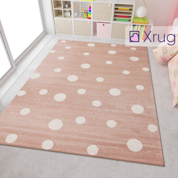 Pastel Pink White Cream Кids Floor Rug Childrens Play Rug Dots Spotted Pattern Small Large Carpet Bedroom Round Mat Nursery Baby Boys Girls Unisex Polypropylene