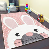 Kids Pink Rug Nursery Mat Thick Soft Animals Children Bedroom Carpet Girls Playroom Mat Pink Bunny