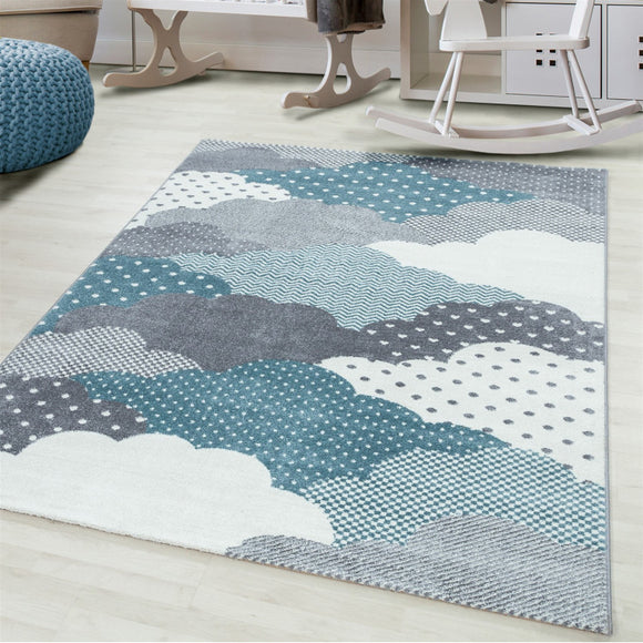 Kids Rug Grey Blue Cream White Clouds Pattern Childrens Bedroom Play Room Floor Mat Baby Nursery Girls Boys Unisex Stars Carpet Small Large 120x170 160x230 80x150 120 160 Round Polypropylene Friese Short Low Pile