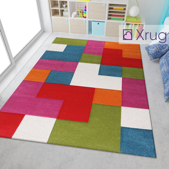 Kids Playroom Rug Multi Colour Red Green Blue Purple Orange Cream White Hand Carved Contour Cut Pattern Mat Childrens Bedroom Carpet Large Small Baby Girls Boys Unisex Geometric Check Polypropylene Frisee