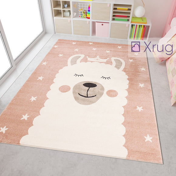 Kids Playroom Rug Pink White Cream Childrens Animal Lama Design Bedroom Carpet Baby Room Mat Girls Boys Unisex