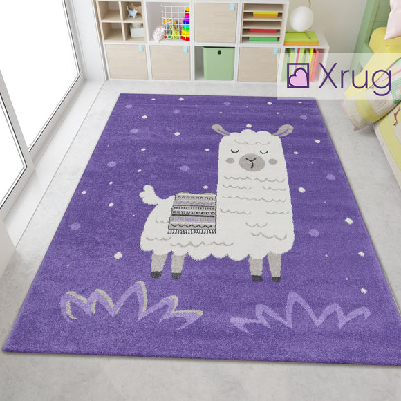 Kids Purple Cream White Rug Childrens Animal Carpet Lama Alpaca Peru Nursery Bedroom Play Room Floor Rug Small Large Baby Girls Boys Unisex Abstract Polypropylene Short Pile
