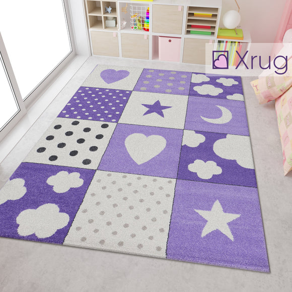 Kids Purple Cream White Stars Heart Moon Clouds Dots Checkered Rug Girls Bedroom Carpet Play Room Floor Mat Nursery Rugs Small Large Baby Girls Boys Unisex Childrens Polypropylene
