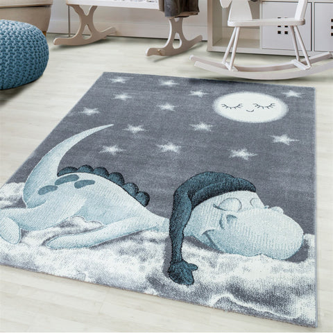 Kids Animal Rug Grey Blue Sleeping Dragon Pattern Childrens Bedroom Play Room Floor Mat Baby Nursery Girls Boys Unisex Stars Carpet Small Large 120x170 160x230 80x150 120 160 Round Polypropylene Friese Short Low Pile